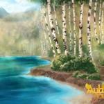 Autumn's Journey Birch Tree Forest background